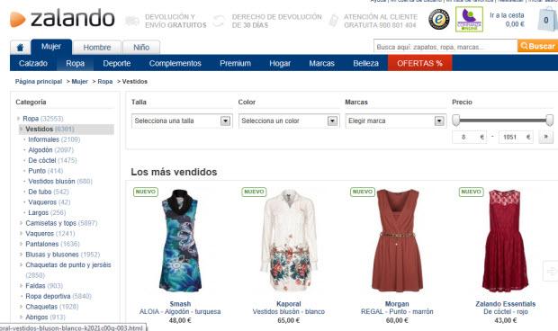 Zalando y sus ofertas de vestidos