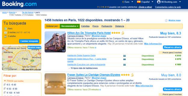 Rebajas en alojamientos en Booking