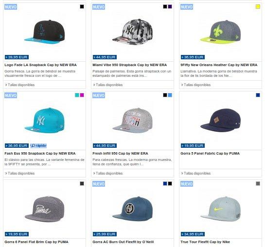 gorras planas precios